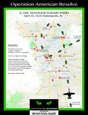 The Indianapolis flyover path set for Thursday, April 30.