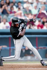 Former NBA great Michael Jordan swings at a pitch for the Birmingham Barons against the Nashville Xpress in the first game of a double header at Greer Stadium Aug. 2, 1994. Jordan scored the winning run in the second game, winning 5-3 after losing the first game 7-4.