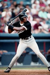 Former NBA great Michael Jordan stands in the batter box for the Birmingham Barons against the Nashville Xpress in the first game of a double header at Greer Stadium Aug. 2, 1994. Jordan went 0-for-4 in the first game and 1-for-4 in the second.