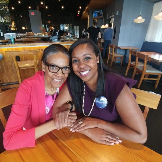 Metro Council Member Joy Styles, right, and her mother, Alice Reynolds, on Mother's Day 2019 at Nashville restaurant Fin & Pearl