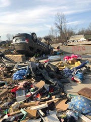 A photo of debris and rubble shows what was left of the Johnson home on Hensley Street in Cookeville, Tenn. after tornadoes destroyed the neighborhood on Tuesday, March 3, 2020.