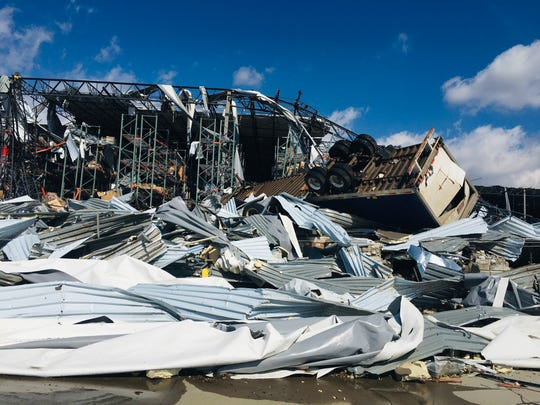 Damage at a CEVA Logistics building in Wilson County after a tornado on March 3.