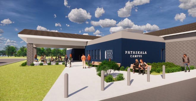A concept illustration of the renovated exterior of the Pataskala COTC campus. Eventually, in a second phase, the entryway could be enclosed, and additional educational space would be constructed toward the rear of the building.