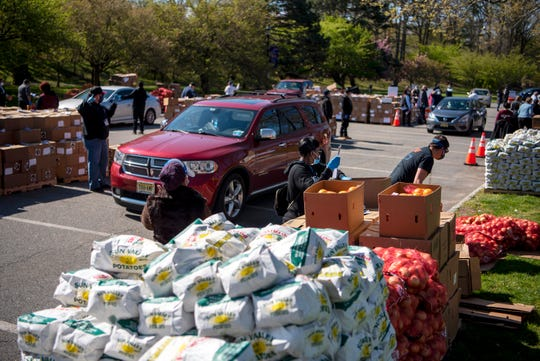 The Community FoodBank of New Jersey held an emergency food distribution event at Essex County Branch Brook Park to help families negatively impacted by the coronavirus. Two thousand boxes of food, each one containing enough food for forty meals, were distributed on April 28, 2020.