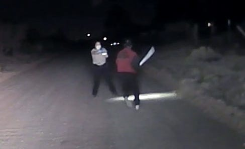 The Doña Ana County Sheriff's Office released a still image from dash cam video taken Monday, April 27, 2020. The deputy purportedly shot the man, who was wielding an object.