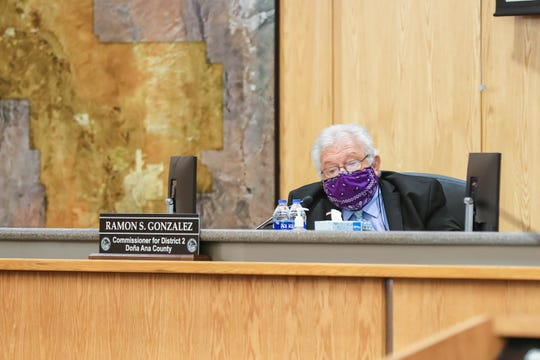 Doña Ana County Commissioner Ramon Gonzalez wears a homemade mask at the Doña Ana County Commission Chambers in Las Cruces on Tuesday, April 28, 2020.
