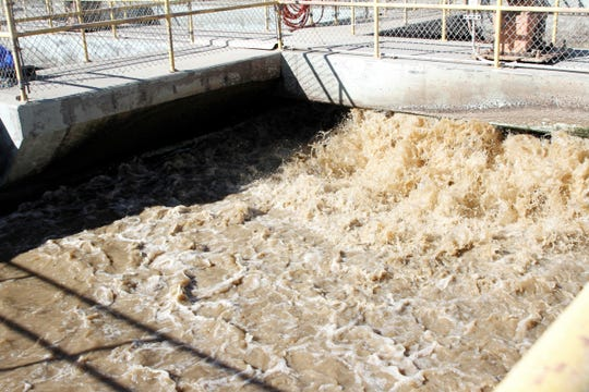 Wastewater is seen in February at the water reclamation facility in Bloomfield.