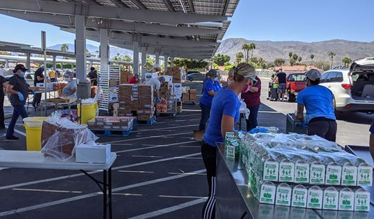 Cathedral City High School distributes food to students.