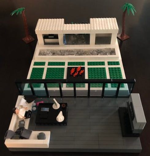 Lori Johnston shared a few images of the Lego version of Kliff Kingsbury's house on Twitter Saturday morning during the 2020 NFL draft. She and her son, Ty, worked together to recreate the Cardinals coach's fascinating living room and backyard.