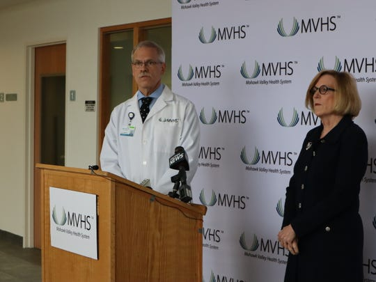 From left, Dr. Kent Hall, the chief physician executive at Mohawk Valley Health System (MVHS), and MVHS President and CEO Darlene Stromstad spoke about protective measures in place against the novel coronavirus Tuesday at the Faxton Campus on Bennett Street in Utica.