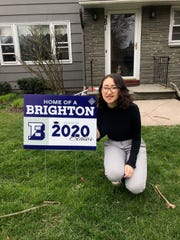 Miya Libman, Brighton Class of 2020, received her lawn sign Monday.