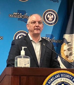 Louisiana Governor John Bel Edwards conducts a press conference on April 28, 2020.