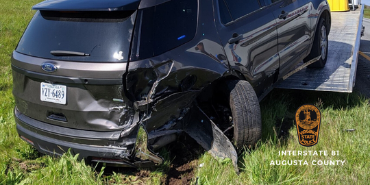 A Virginia State trooper was nearly hit by a car on Interstate 81 Monday, April 27, 2020 afternoon while investigating a two-vehicle crash.