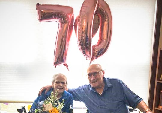 Carol and Hobbie Schleicher, residents of Serenity Place on Seventh in St. Joseph, celebrate their 70th wedding anniversary Saturday, April 18, 2020.