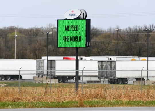 A sign near the main entrance to the Pilgrim's Pride plant is pictured Tuesday, April 28, 2020, in Cold Spring.