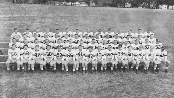 The team photo of the 1950 FSU football team, the first to go undefeated in program history.