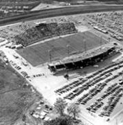 An aerial look at Doak Campbell Stadium ahead of FSU's debut game in its new stadium Oct. 7, 1950 against Randolph-Macon.