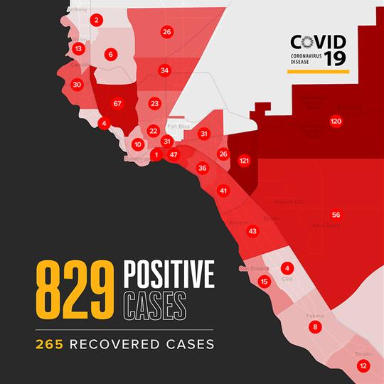El Paso map of coronavirus COVID-19 cases as of April 27, 2020.