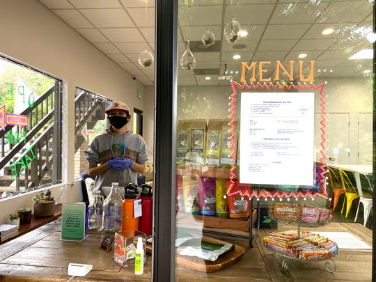 Revel Kombucha in Ojai serves takeout orders through a window on the side of the building. Online ordering is available for curbside pickup and delivery.