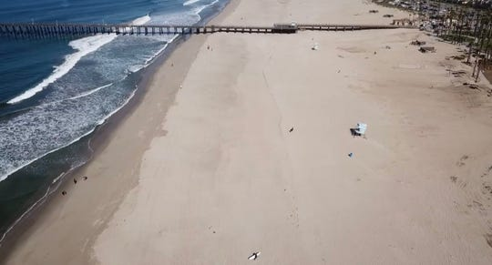 Open sand was visible on either side of the Port Hueneme Pier during the weekend of April 25 and 26, 2020. Local law enforcement agencies monitored Ventura County beaches during the warm weekend to make sure residents maintained social distance amid coronavirus restrictions.