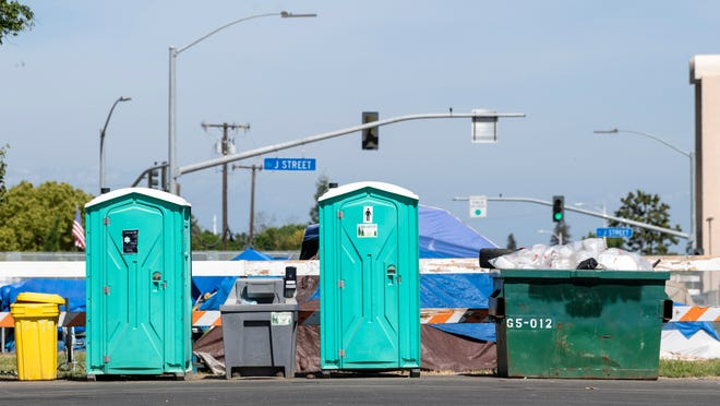 Porta potties and sanitation stations have been installed in three locations in an effort to encourage hygiene and curb the spread of the novel coronavirus at homeless encampments in Tulare.
