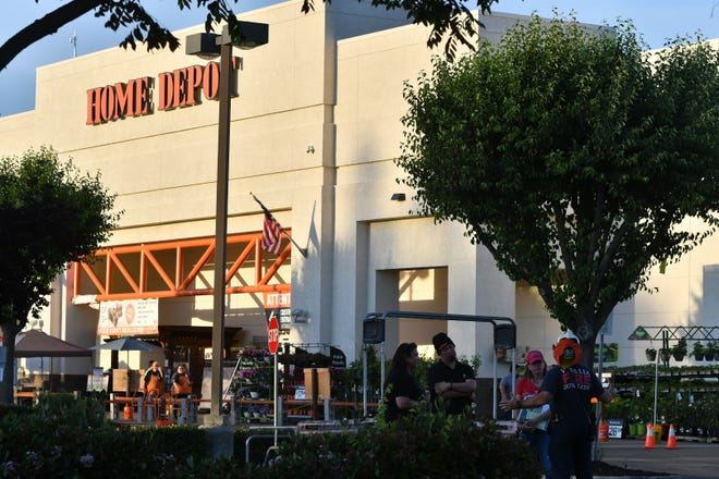 The Visalia Fire Department responded around 7 p.m. Monday to a suspected arson fire that destroyed five sheds and damaged several others at Visalia's Home Depot.