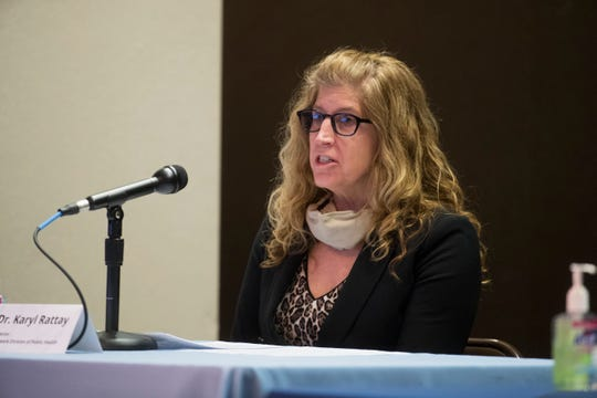 Division of Public Health Director Dr. Karyl Rattay speaks during the Governor's bi-weekly press conference on the state of the coronavirus in Delaware Tuesday, April 28, 2020, in Wilmington.