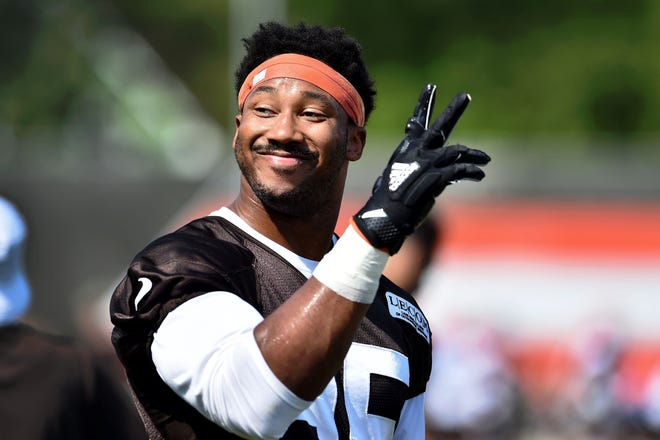 Cleveland Browns defensive end Myles Garrett at training camp in 2019.