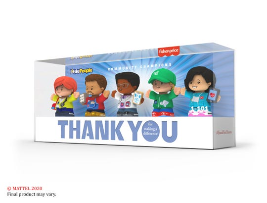 Mattel's new Fisher-Price action figures and Little People figurines fund COVID-19 charities and honor medical, delivery and grocery workers. This special five-character Little People set ( $20) includes an emergency medical technician, delivery driver, doctor, grocery worker and nurse.