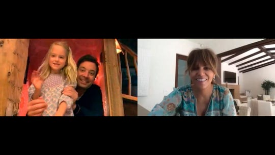 Jimmy Fallon and his daughter video chat with Halle Berry on the April 21 episode of