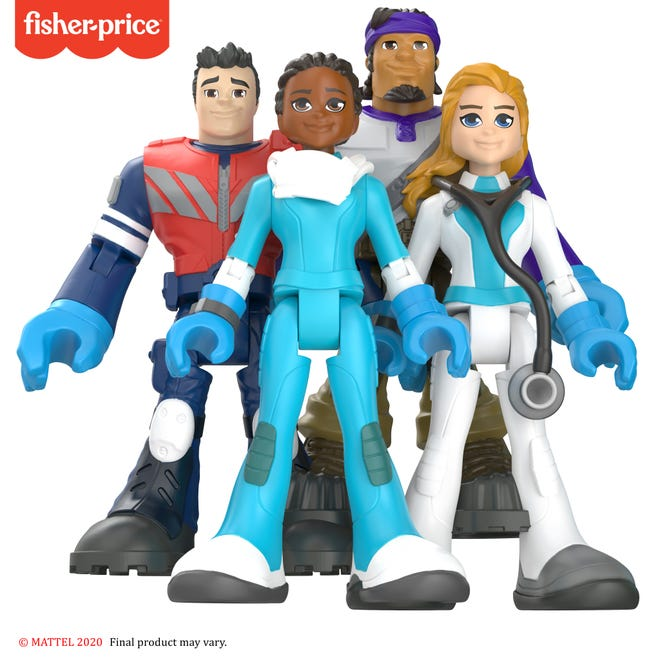 Mattel's new Fisher-Price action figures and Little People figurines fund COVID-19 charities and honor medical, delivery and grocery workers. The figures include emergency medical technician and delivery driver (left to right, back row), and nurse and doctor (left to right, front row).