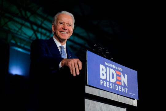 Democratic presidential candidate Joe Biden campaigns in Columbia, South Carolina, on Feb. 29, 2020.