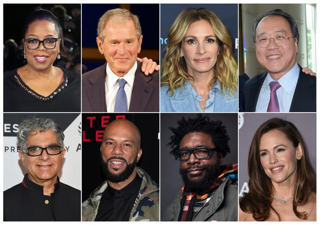 This combination photo shows, top row from left, media mogul Oprah Winfrey, former President George W. Bush, actress Julia Robert and musician Yo-Yo Ma, bottom row from left, guru Deepak Chopra, rapper Common, musician Questlove, and actress Jennifer Garner, who are among the participants in the 24-hour livestream event, The Call to Unite, beginning Friday, May 1 at 8 p.m. EDT.