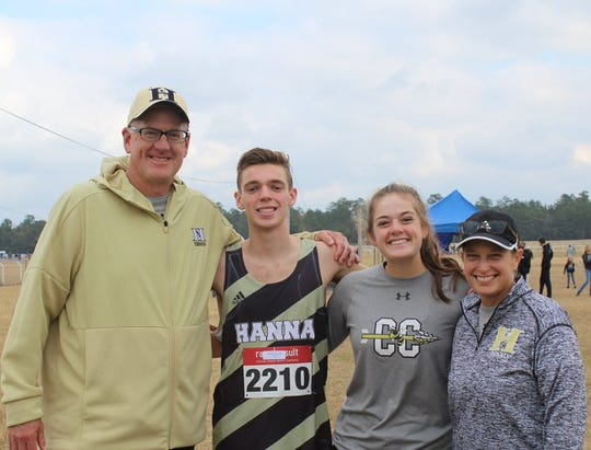 The Spencer family at the 2019 Class AAAA cross country finlas. Austin (center) placed fourth.