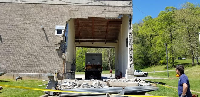 A truck making a delivery to the Water Production Plant at the North Fork Reservoir backed into the breezeway of a building on Monday, April 27. No one was injured in the incident, and water flow was not interrupted.