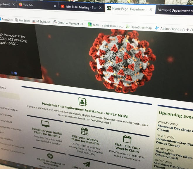 A landing page on the Vermont Department of Labor website features the coronavirus and links to unemployment benefits, on April 29, 2020.