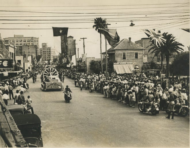 The Buccaneer Days parade winds down Chaparral Street in Corpus Christi in 1940. During World War II, Buc Days was canceled.