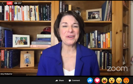 Minnesota Sen. Amy Klobuchar, rumored to be on the short list for Joe Biden's running mate, appeared during an Ohio Democratic Party virtual Election Night watch party.