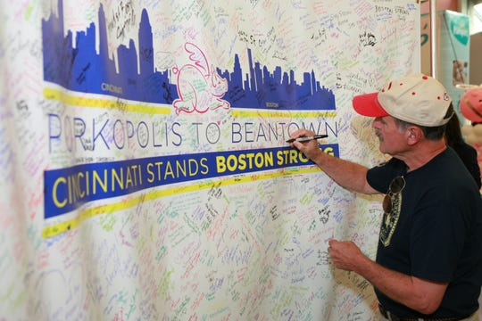 Cincinnati showed great support for Boston at the 2013 Flying Pig Marathon, which was held just a few weeks after the Boston Marathon bombings.