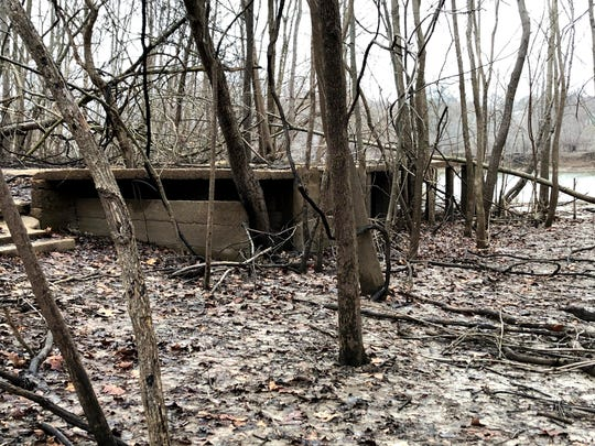 This photo taken March 10, 2020, in Arnold, Missouri, shows the ruins of an abandoned house along the Meramec River. The city of Arnold has bought out hundreds of homes along the waterfront, creating more open space and wetlands where the river can spread out during floods without doing serious damage. Arnold is among a number of U.S. heartland communities taking such steps as an alternative to relying solely on levees and other man-made infrastructure to control floods.