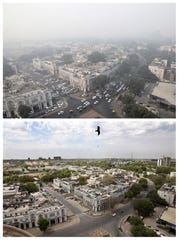 This combination of Friday, Nov. 1, 2019, top, and Monday, April 20, 2020, photos shows New Delhi's skyline. India's air quality improved drastically during a nationwide lockdown to curb the coronavirus' spread.