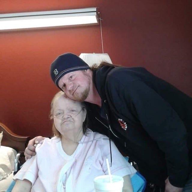 Mark Aubrey Jones with his mother Kathleen