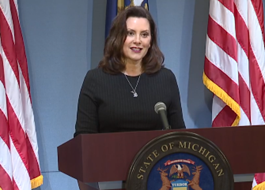 Gov. Gretchen Whitmer at a news conference on April 29, 2020.
