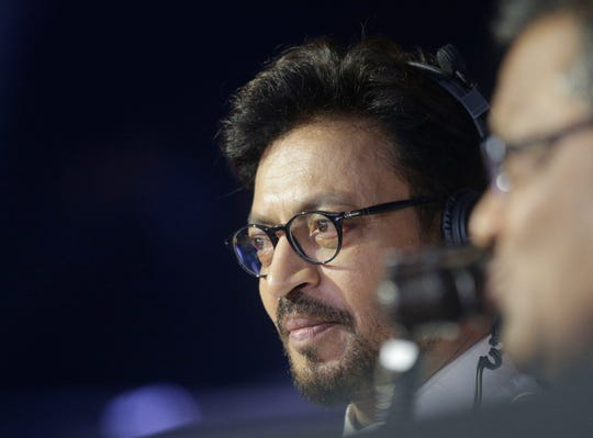 Actor Irrfan Khan watches a Vivo Pro Kabaddi league match in Mumbai, India on Oct. 23, 2017.