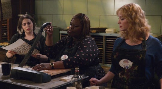 "Mae Whitman, left, as Annie Marks, Retta as Ruby Hill, Christina Hendricks as Beth Boland in ""Good Girls."""