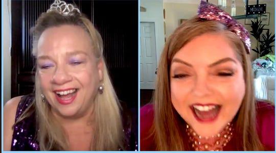 A screenshot of Liz Abbott and Stephanie Davis hosting Homebound Happy Hour