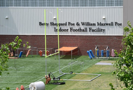 Clemson University football practice facility fields Wednesday, April 29, 2020. The COVID-19 pandemic forced Clemson University to close, but during the closure, construction on campus continued.