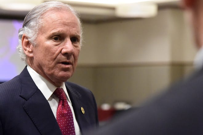 Gov. Henry McMaster speaks with reporters after the first meeting of accelerateSC, his advisory group about reopening the state economy, on April 23 in Columbia.