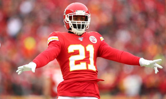Kansas City Chiefs cornerback Bashaud Breeland (21) reacts against the Houston Texans in the AFC Divisional Round playoff football game last January.