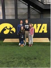 David Davidkov and his family pose during an Iowa junior day visit.